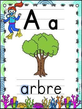 L'alphabet - Affiches - French Alphabet Posters - Thème: océan