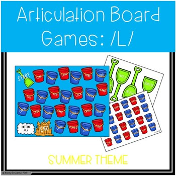 /L/ and /L/-Blends Articulation Board Games - Summer Theme