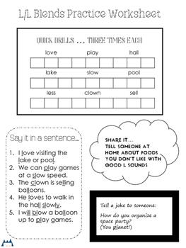 L and L Blends Articulation Homework Worksheets