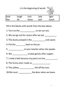 L and L Blends Worksheets