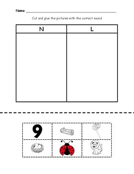 L and N Beginning Sound Sort