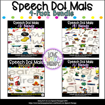 L , R, S Blends & Vocalic R Speech Dot Mats BUNDLE