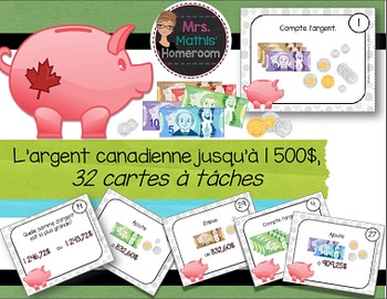 L'argent canadienne: cartes à tâches (Canadian Money Task Cards in French)