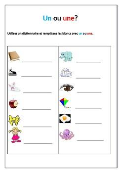 L'article indéfini / Indefinite article / Un and Une