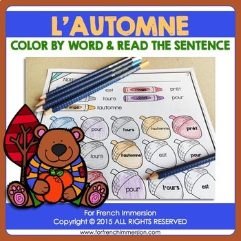 FRENCH Fall Color by Word | Automne
