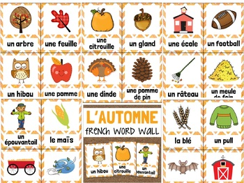 L'automne FRENCH Fall Vocabulary Word Wall