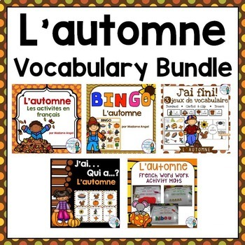 L'automne:  Fall (Autumn) Themed Vocabulary BUNDLE in French