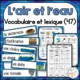 L'air et l'eau - Mur de mots et lexique - French Air and Water Vocabulary