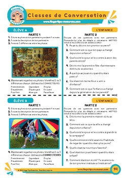 L'enfance - French Speaking Activity