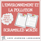 L'environnement - French scrambled words - Le Jour de la T