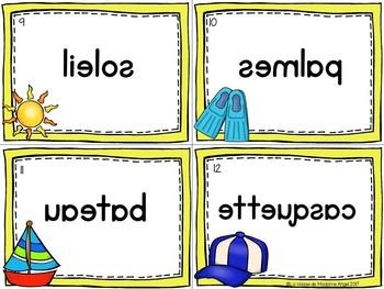 L'été: Beach Themed Vocabulary Center - Mots miroirs