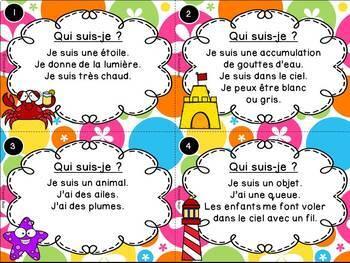 L'été - Cartes à tâches - Qui suis-je? French Summer Task Cards