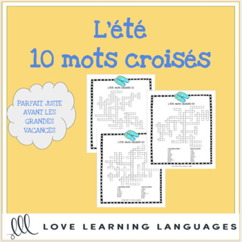 L Ete French Crossword Puzzles Summer Theme 10 Versions Tpt
