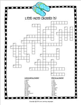 L'été - French crossword puzzles - Summer theme - 10 versions