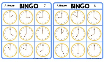 L'heure:  Telling Time to the Hour Bingo Game in French