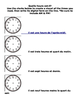 L'heure: telling time in french