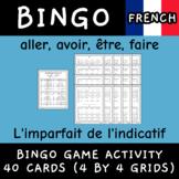 L'imparfait aller avoir être faire conjugation core French bingo 40 cards game