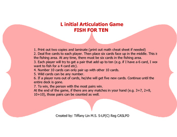 L initial articulation game-Fish for Ten