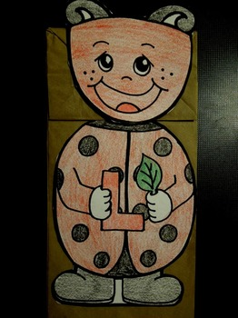 L is for Ladybug paper bag puppet