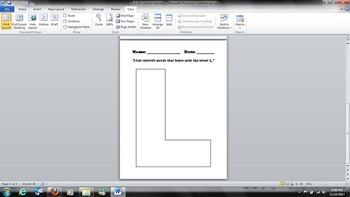 L is for Lemons Alphabet Letter L Kindergarten Activity