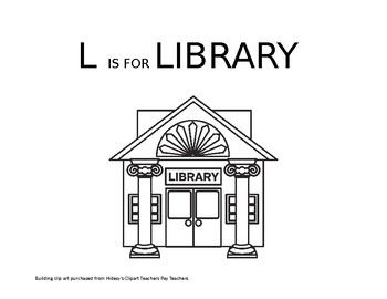 L is for Library coloring sheet