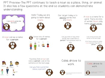 Nouns Introduction Pack: Engaging PPT, Word Sort, Focus Posters