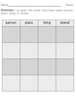 L.1.1b Noun Sort: person, place, thing, or animal