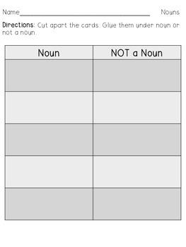 L.1.1b Noun or Not a Noun Sort