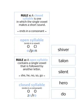 L135: rule about OPEN|CLOSED SYLLABLES card set