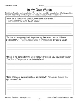 L.1.6 First Grade Common Core Worksheets, Activity, and Poster