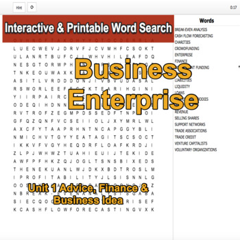 Business Enterprise Environment Interactive Word Search U1, LO D2 & 3, Level 2