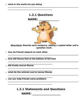 L.2.1 Second Grade Statements, Questions, Capitalization, and Punctuation Packet
