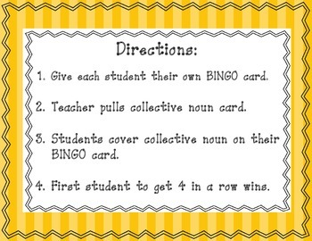 L.2.1(a) Collective Nouns BINGO Games