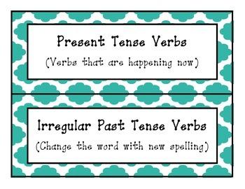 L.2.1(d) Irregular Past Tense Verbs Pocket Chart Sort