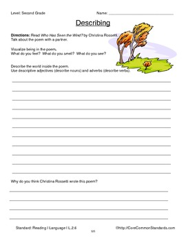 L.2.6 Second Grade Common Core Worksheets, Activity, and Poster