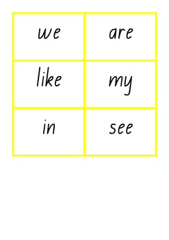 L3 Butterfly Card Sight Words