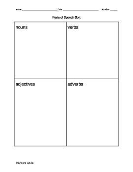 L3.1a Parts of Speech Paste Sort
