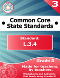 L.3.4 Third Grade Common Core Bundle - Worksheet, Activity, Poster, Assessment