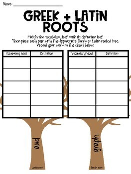 """L.3.4c - Greek & Latin Roots (""""graph"""" and """"aud"""") Literacy Center Activity"""