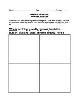 L3.6 Journeys Unit 4 Lesson 19 Vocabulary Homework Supplement