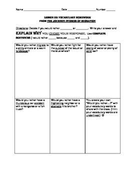 L3.6 Journeys Unit 5 Lesson 22 Vocabulary Homework Supplement The Journey