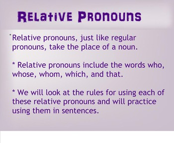 L.4.1a Relative Pronouns and Adverbs