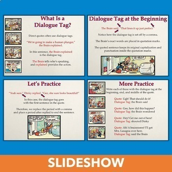 Writing Dialogue with Cartoons - Using Quotation Marks in Direct Quotes