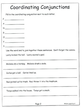 L4.2c Coordinating Conjunctions  Practice Pages, Quizzes for 4th Grade