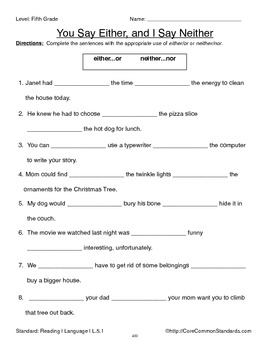 L.5.1 Fifth Grade Common Core Worksheets, Activity, and Poster