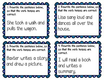 L.5.1.d - Shifts in Verb Tense Task Cards (32 CCSS Aligned Task Cards)