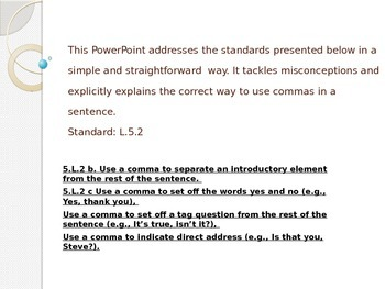 L.5.2 Comma PowerPoint Lesson - 25 Slides On How to Use A