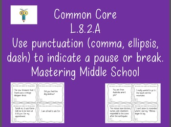 L.8.2.A - Task Cards for Commas, Ellipses, and Dashes