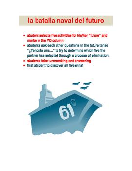 LA BATALLA NAVAL  future tense game Spanish