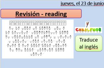 LA COMIDA - reading comprehension - assessment preparation - revision